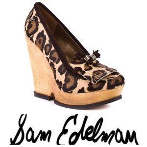 💕SALE💕Sam Edelman Wesley Leopard Calf Hair Wedge